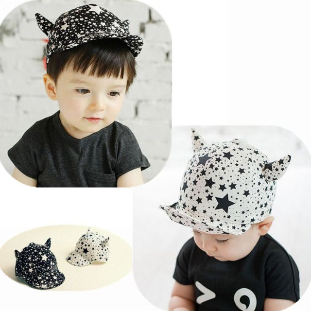✓️STOCK - KOREAN STAR BABY BOY SUN HAT CAP BEANIE HEAD ACCESSORIES  (White Black) 37ed11e2286