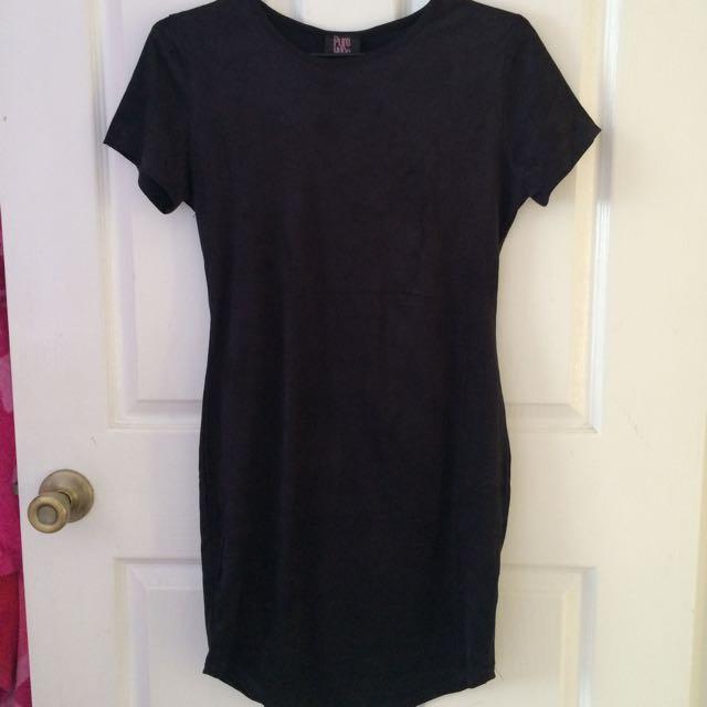 Suede Tunic Dress Black