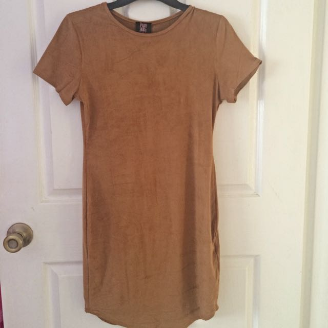 Suede Tunic Dress Camel