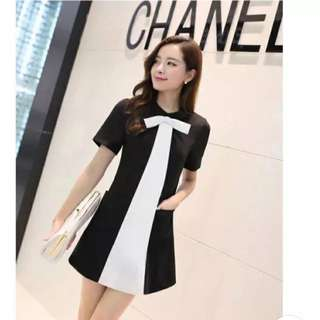 Black And White A Line Work Dress