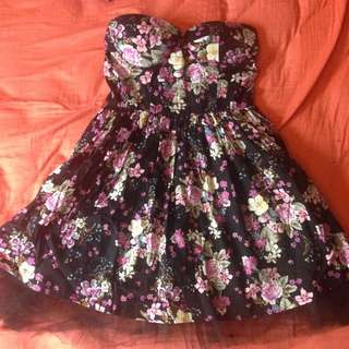 Floral Strapless Size 8 Dress