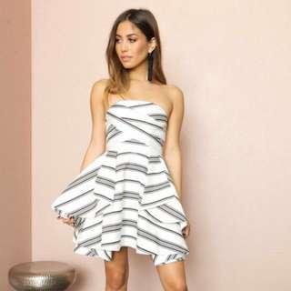 Cameo Strapless Monochrome Striped Dress