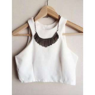 NEW! Racer Crop Top in White