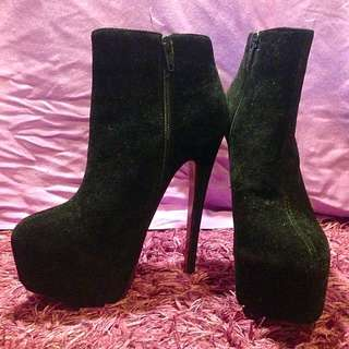 Super High Black Ankle Boots
