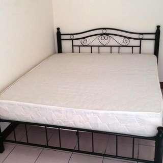 (保留)公主風床架加雙人彈簧床墊。很新。使用6個月~需自取(花蓮中正路。上毅大鎮)