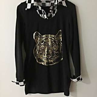 Tiger Mock Two Piece Long Top Size S