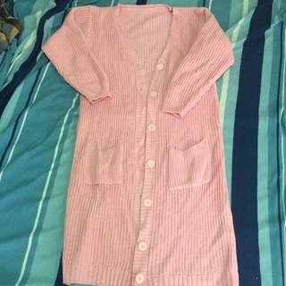超長版針織外套✨甜心粉紅色