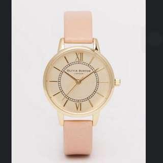 🚚 英國代購 Olivia Burton London 金屬錶盤 氣質滿分經典款真皮手錶 現貨 正品 粉色