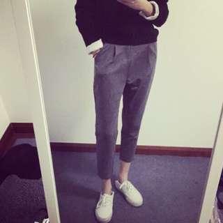 灰色西裝布料打折褲