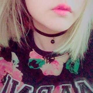 🚚 咖啡色緞帶絨布頸鍊