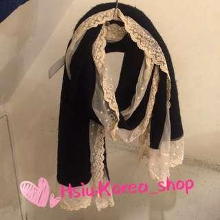 蕾絲配針織布圍巾
