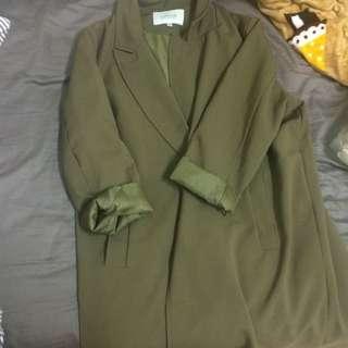 長版西裝外套 綠