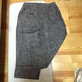 寶藍色格紋寬褲(照片有色差)