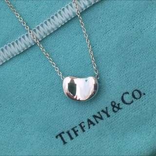 正品Tiffany&co 小相思豆項鍊,925純銀-專櫃真品、9成新