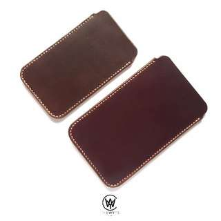 Handmade Genuine Full Grain Leather Minimalist Phone Sleeve | Handcrafted | Handstitched | D33