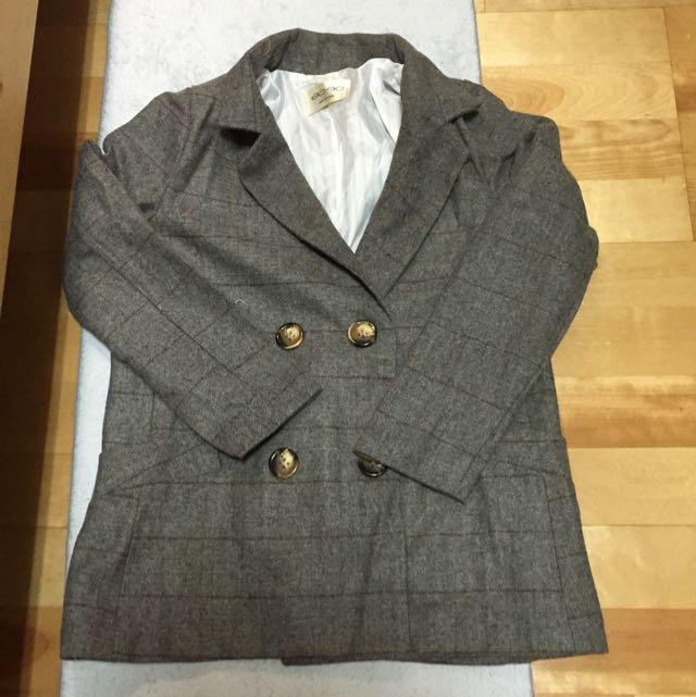 格紋復古西裝外套
