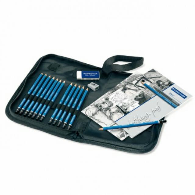 搶光了(全新)施德樓頂級藍桿繪圖鉛筆拉鍊包 16件組-限量商品