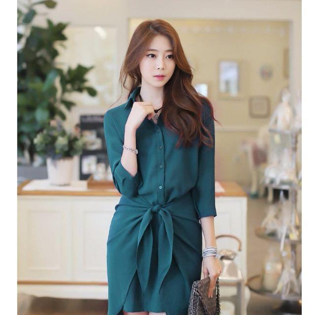 春夏新品專櫃精品款超優質優雅七分袖不規則洋裝連身裙襯衫雪紡洋裝 S~XL