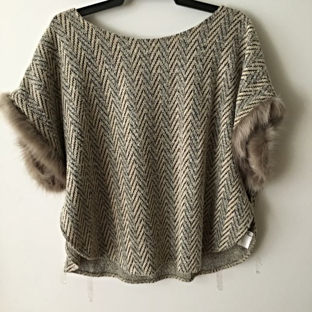 Beige Poncho With Faux Fur Sleeves Size S/M