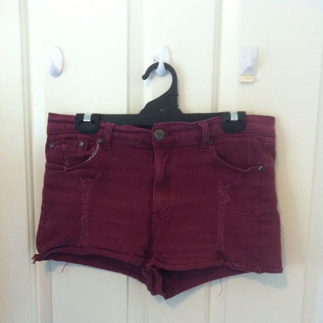 Burgundy Denim Shorts