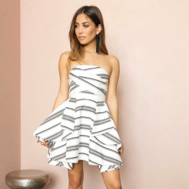 Cameo Strapless Monochrome Striped Dress