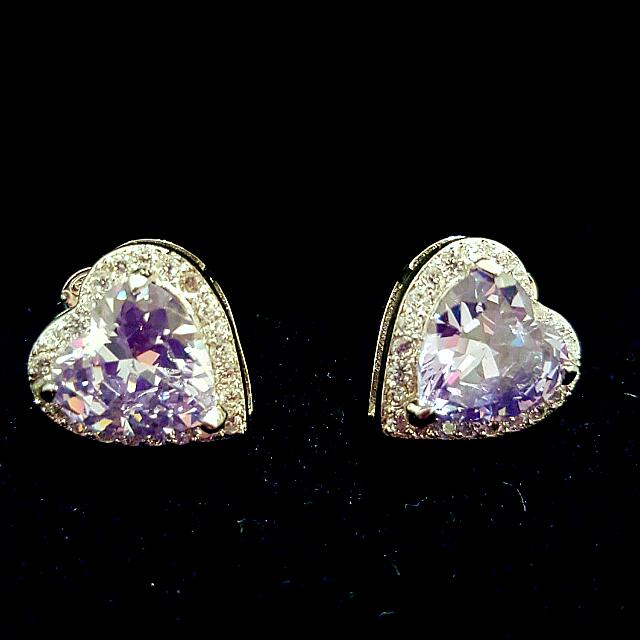 Diamond CZ Heart Earrings 6ct