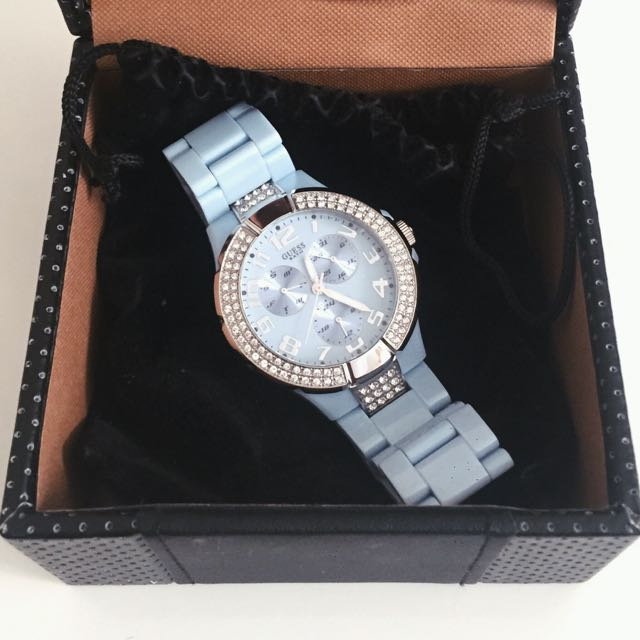 Guess Women's Steel Baby Blue Plastic Crystal Accent Quartz Watch