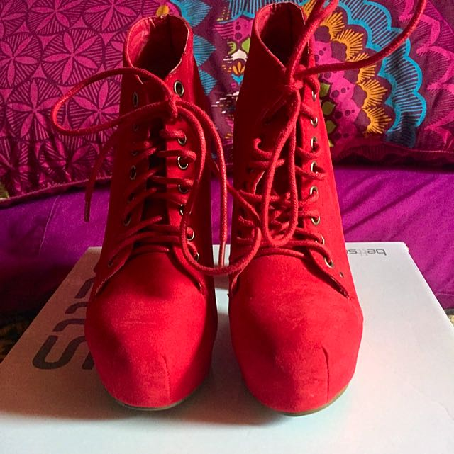 Marco Gianni Red Lace Up Heels