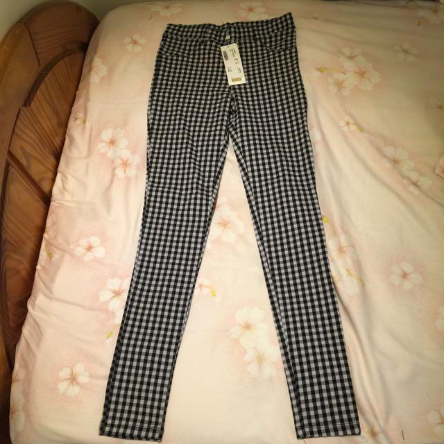 (全新未剪標)PAZZO黑白格紋長褲