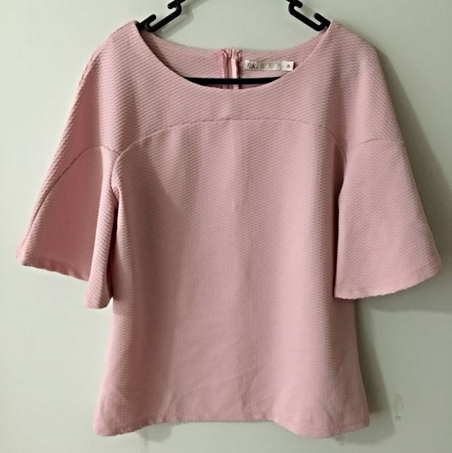 Pink Wide Sleeve Top Size 8