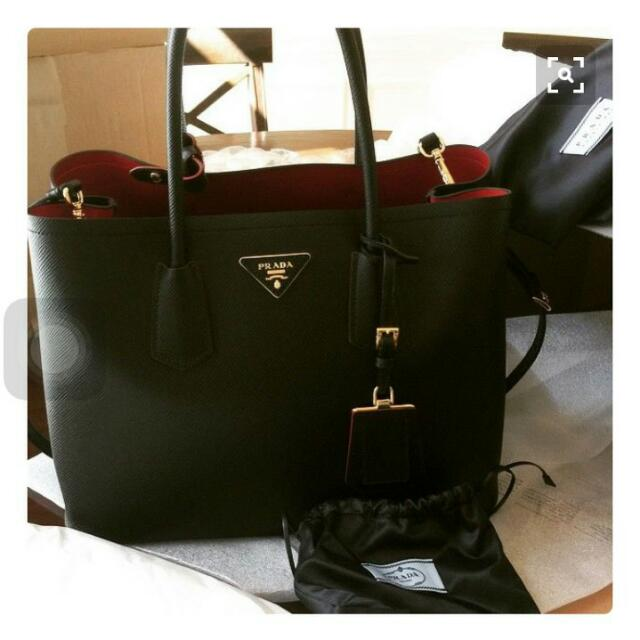 Prada Double Bag 黑紅