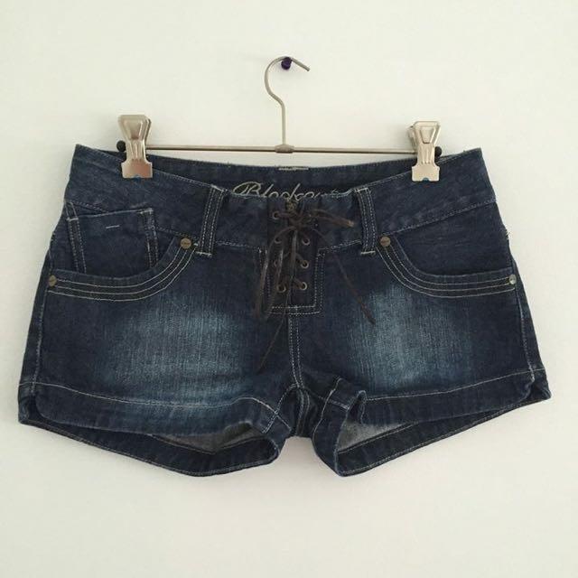 Tie Up Denim Short Shorts