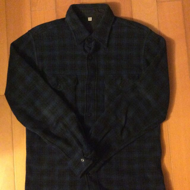 Uniqlo 藍黑格紋毛巾布襯衫