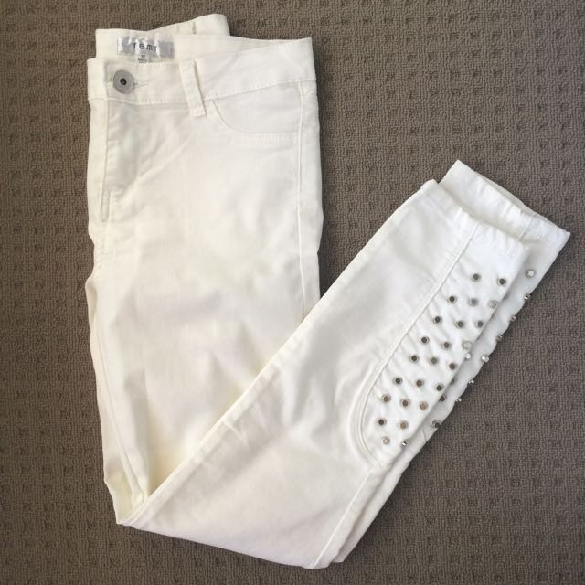 White Skinny Jeans With Studs