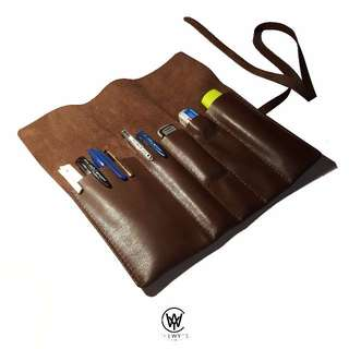 Handmade Genuine Full Grain Leather Roll Up Pencil Case | Handcrafted | Handstitched | D34