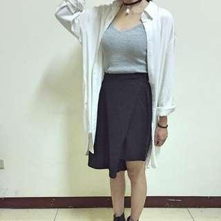 黑色 鬆緊 造型 褲 裙