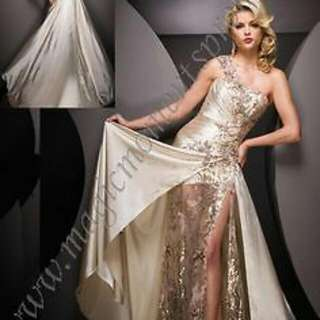 floral tony bowls champagne dress with slit, sequins, silk one shoulder, floor length  floral pattern  hand sewn sequins  silk champagne dress with leg slit  worn once  fits sizes 0-6