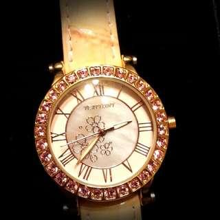 ✨ Bling Bling ✨ 氣質款亮鑽粉紅皮紋 手錶⌚ 二手私物 含運