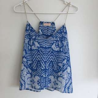 Blue And White Going Out Top