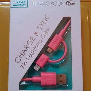 通過Apple原廠MFi認證 果粉們也可以使用哦😀 Team十銓 WC02 Lightning&Micro USB 2合1傳輸充電線 (原價$599)含郵局掛號運費$380