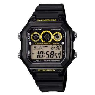 CASIO 超強十年電力 電子錶1300WH系列-(黃/紅/藍三色可選)