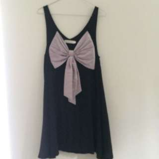 Charcoal Black Party Dress With Bow