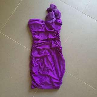 Purple One Shoulder Bodycon Dress Size 6
