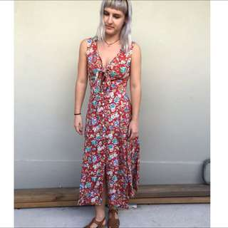Long Red Floral Vintage Maxi Dress