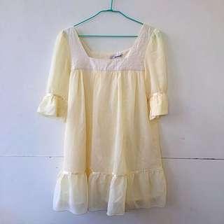 日貨全新鵝黃雪紡洋裝