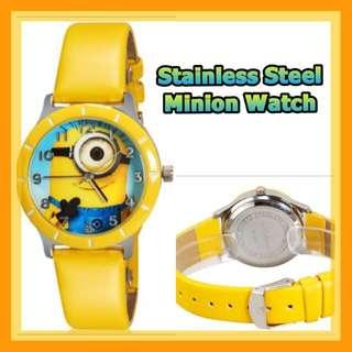 *Quality* Minion Round Dial Analog Wrist Watch with PU Strap (Yellow)