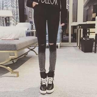 早春新品✨黑灰漸層修身破洞牛仔褲