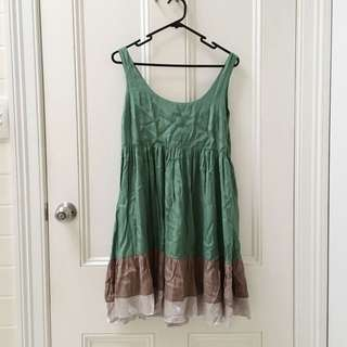 Green And Brown Skater Dress Medium