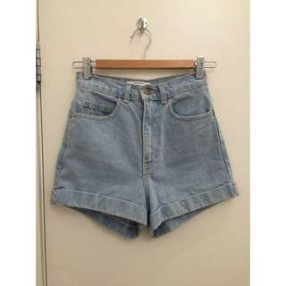 American Apparel High Waisted Denim Shorts Size 25