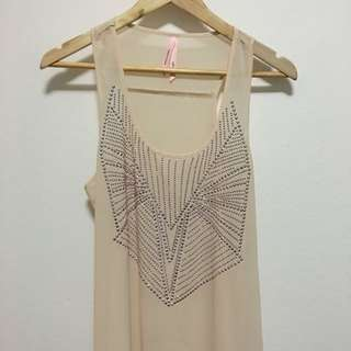 Ally Sheer Silver Studded Singlet - Size (S)